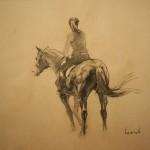 """Fine Horsemen"" бумага, уголь, 60х80см, 2016г."